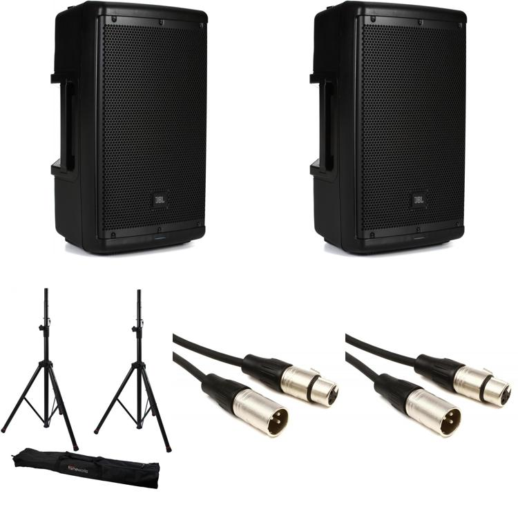 JBL EON610 Speaker Pair with Stands and Cables image 1