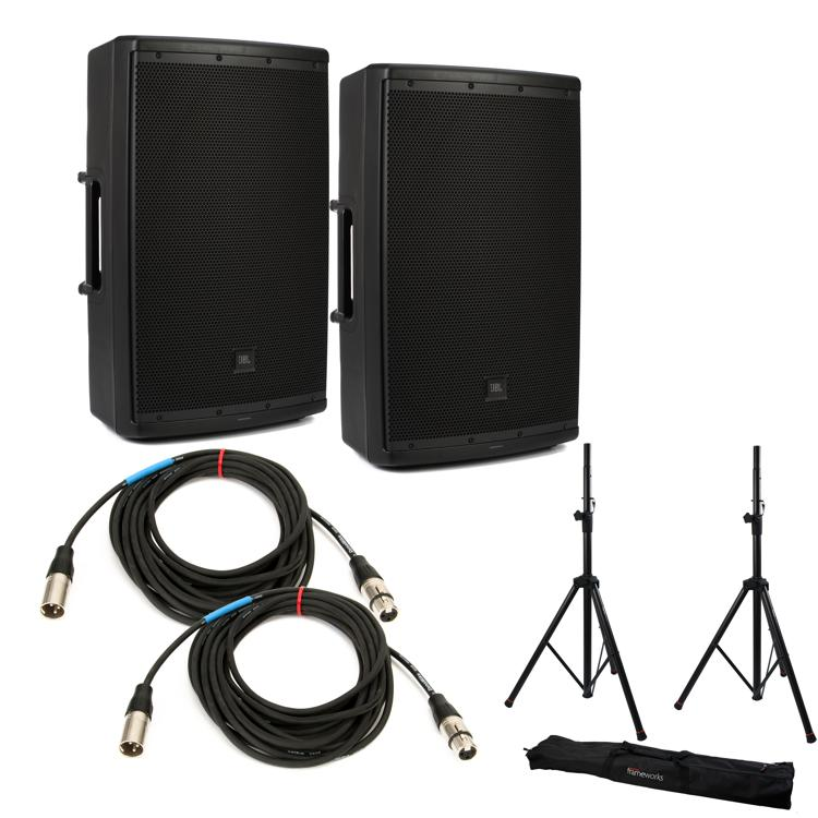 JBL EON612 Speaker Pair with Stands and Cables image 1