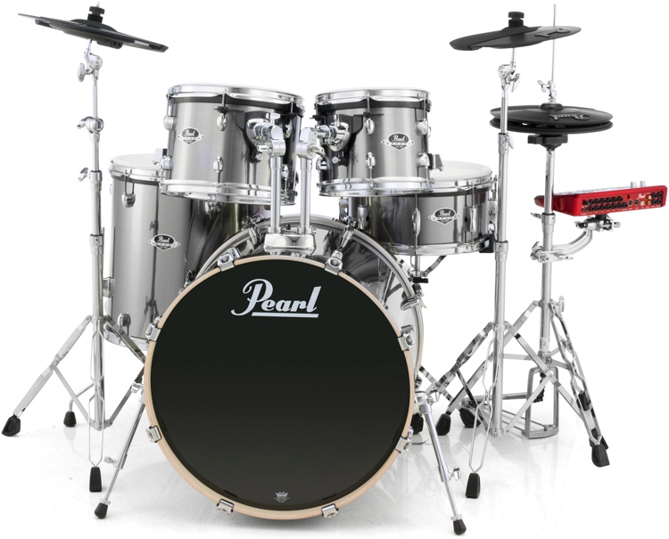 Pearl E-Pro Powered by Export 5-pc Electronic Drum Set Standard Fusion - Smokey Chrome image 1