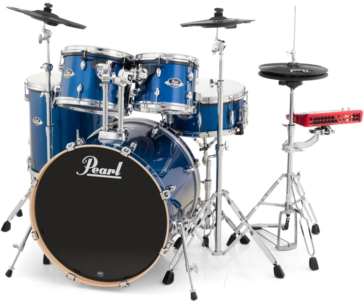 Pearl E-Pro Powered by Export 5-pc Electronic Drum Set Fusion - Blue Sparkle image 1