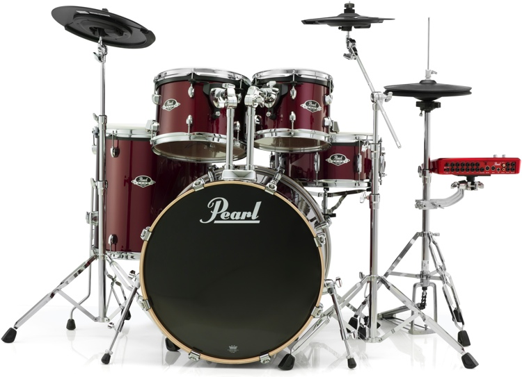 Pearl E-Pro Powered by Export 5-pc Electronic Drum Set Fusion - Red Wine image 1