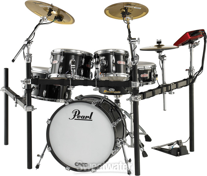 Pearl E-Pro Live - Jet Black, Brass Cymbals image 1