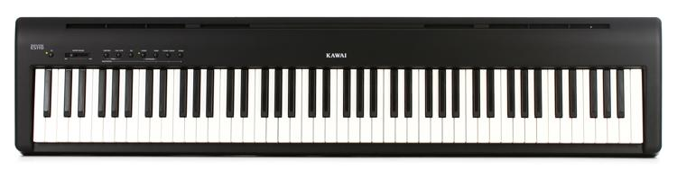 kawai es110 88 key digital piano with speakers gloss black sweetwater. Black Bedroom Furniture Sets. Home Design Ideas