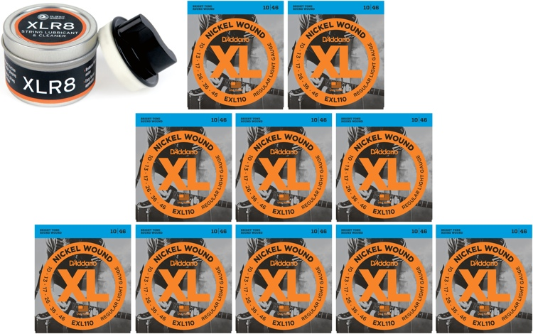 D\'Addario EXL110 Nickel Wound Light Electric Strings 10-Pk w/Free XLR8 image 1