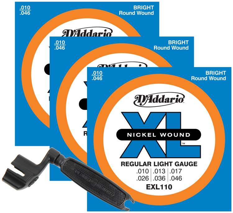 D\'Addario EXL110 Nickel Wound Electric Guitar Strings - .010-.046 Light 3-pk +Winder image 1