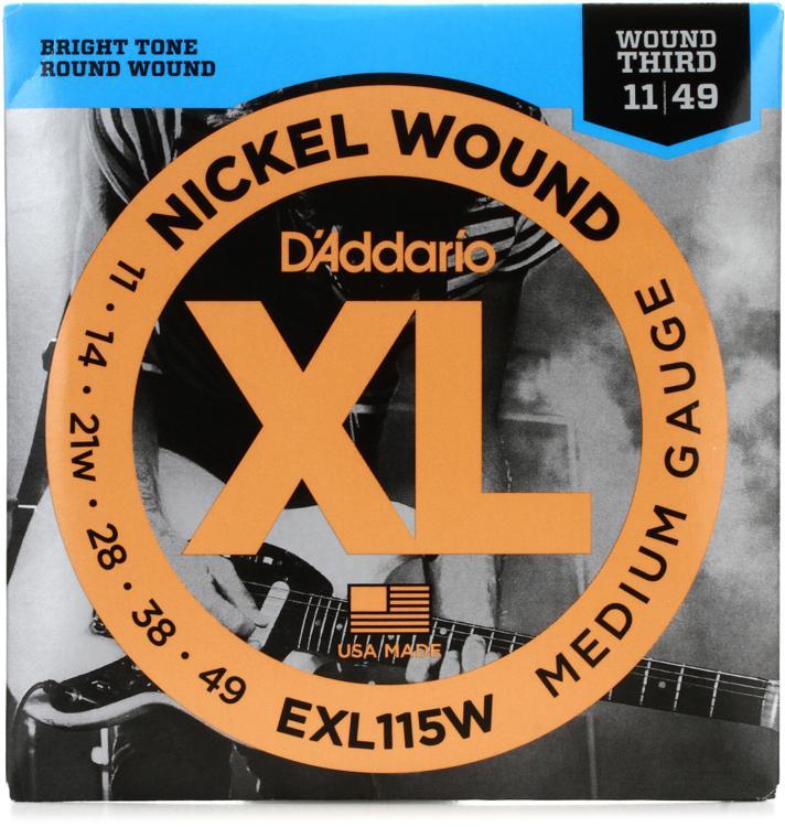 D\'Addario exl115w Nickel Wound Medium (wound 3rd) Electric Strings image 1