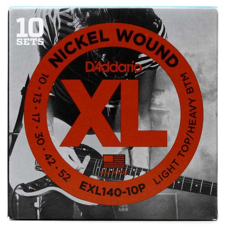 D\'Addario XL140 Nickel Wound Light Top/Heavy Bottom Electric Strings 10-Pk image 1
