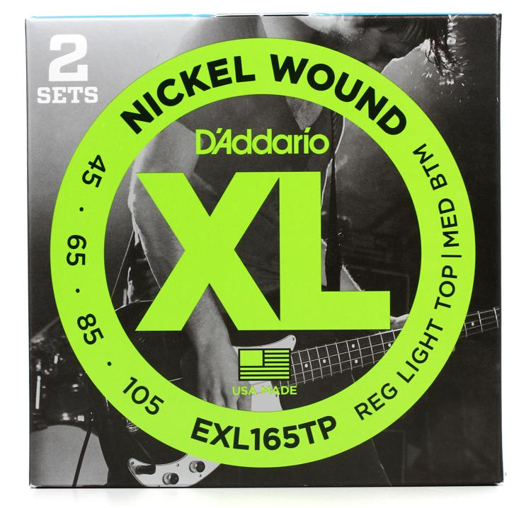 D\'Addario EXL165TP Nickel Wound Long Scale Light Top Medium Bottom Bass Strings 2-Pack image 1