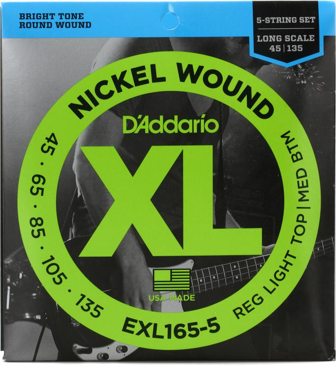 D\'Addario EXL165-5 Nickel Wound Long Scale Light Top/Medium Bottom 5-String Bass Strings image 1
