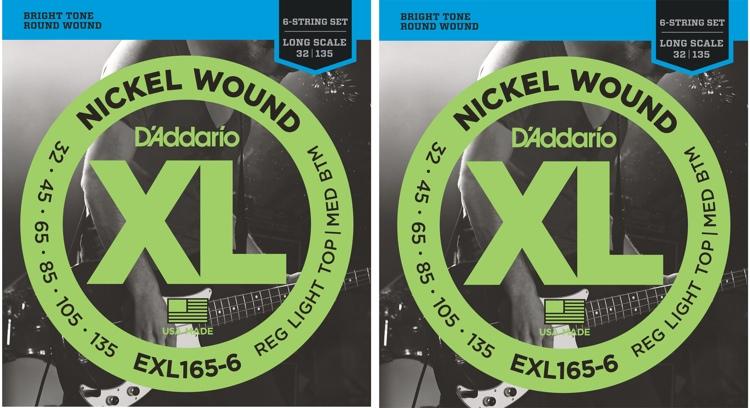 D\'Addario EXL165-6 Nickel Wound Long Scale Light Top/Medium Bottom 6-String Bass Strings 2-Pack image 1