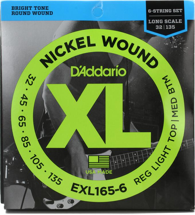 D\'Addario EXL165-6 Nickel Wound Long Scale Light Top/Medium Bottom 6-String Bass Strings image 1