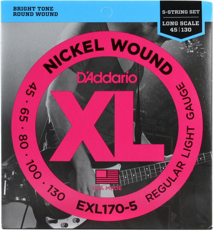 D\'Addario EXL170-5 Nickel Wound Long Scale Light 5-String Bass Strings image 1