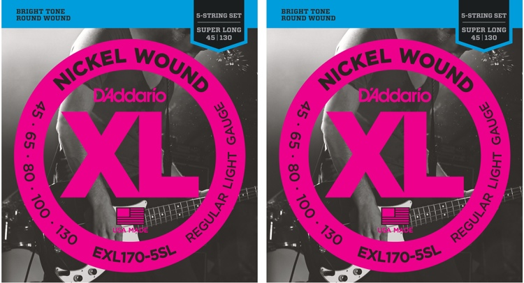 D\'Addario XL170-5SL Nickel Wound Super Long Scale Light 5-String Bass Strings 2-Pack image 1
