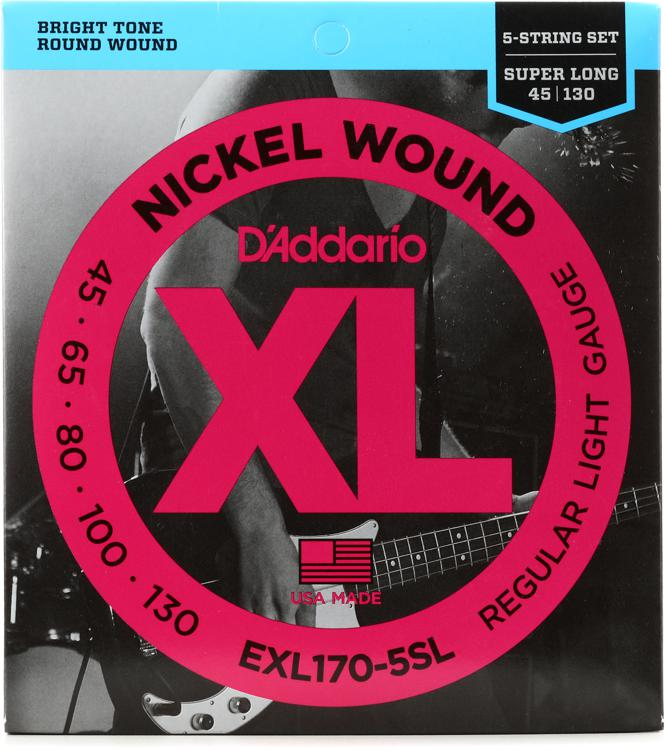 D\'Addario XL170-5SL Nickel Wound Super Long Scale Light 5-String Bass Strings image 1