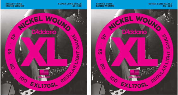 D\'Addario EXL170SL Nickel Wound Super Long Scale Light Top/Medium Bottom Bass Strings 2-Pk image 1