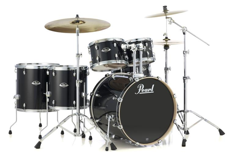pearl export exl 6 piece rock shell pack with snare drum black smoke sweetwater. Black Bedroom Furniture Sets. Home Design Ideas