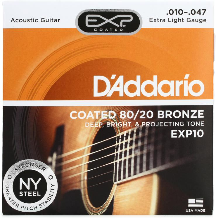 D\'Addario EXP10 Coated 80/20 Bronze Extra Light Acoustic Strings image 1