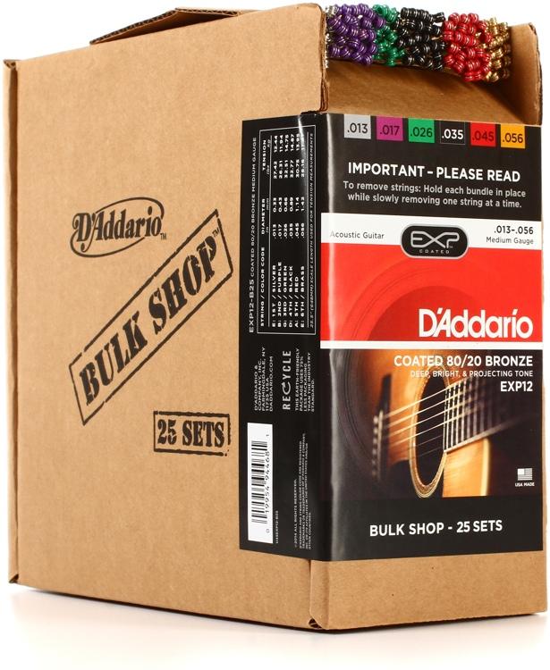 D\'Addario EXP12 Coated 80/20 Bronze Medium Acoustic Strings 25-pack image 1