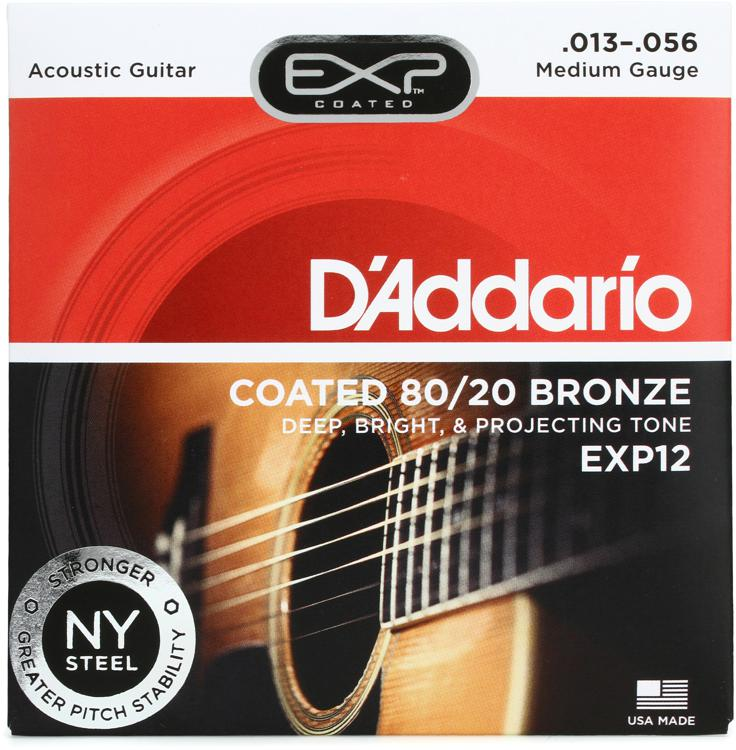 D\'Addario EXP12 Coated 80/20 Bronze Medium Acoustic Strings image 1