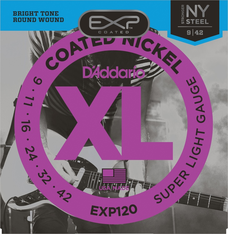 D\'Addario EXP120 Coated Nickel Plated Steel Super Light Electric Strings image 1
