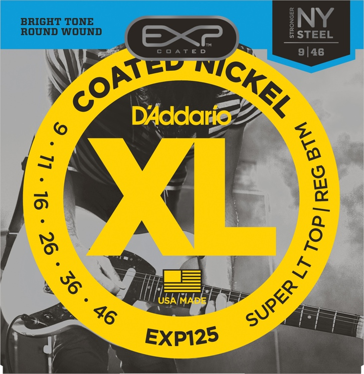 D\'Addario EXP125 Coated Nickel Plated Steel Light Top/Regular Bottom Electric Strings image 1