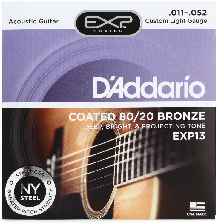 D\'Addario EXP13 Coated 80/20 Bronze Custom Light Acoustic Strings image 1
