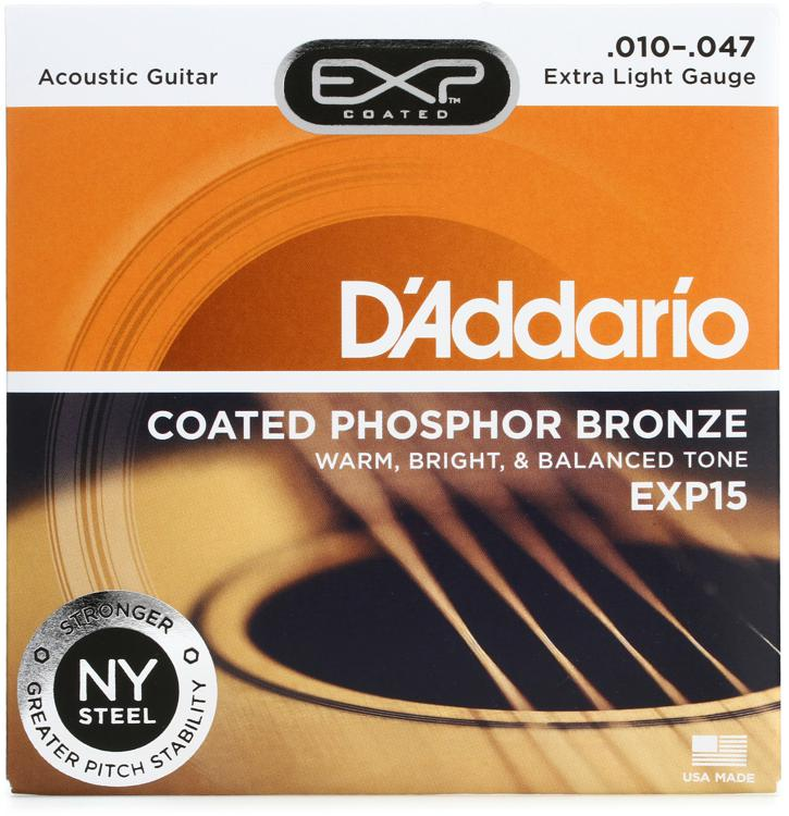 D\'Addario EXP15 Coated Phosphor Bronze Extra Light Acoustic Strings image 1