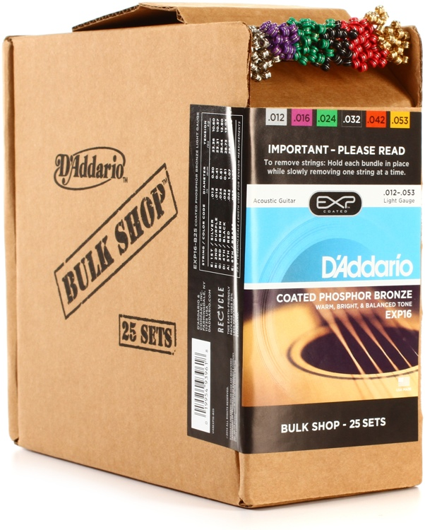 D\'Addario EXP16 Coated Phosphor Bronze Light Acoustic Strings 25-pack image 1