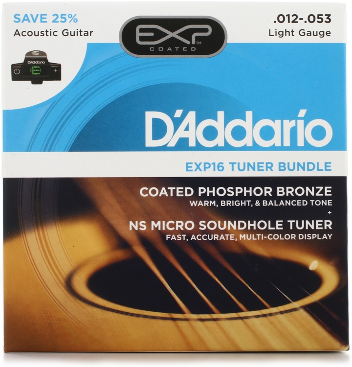 d 39 addario exp16 coated phosphor bronze acoustic strings light with ns micro sound hole tuner. Black Bedroom Furniture Sets. Home Design Ideas