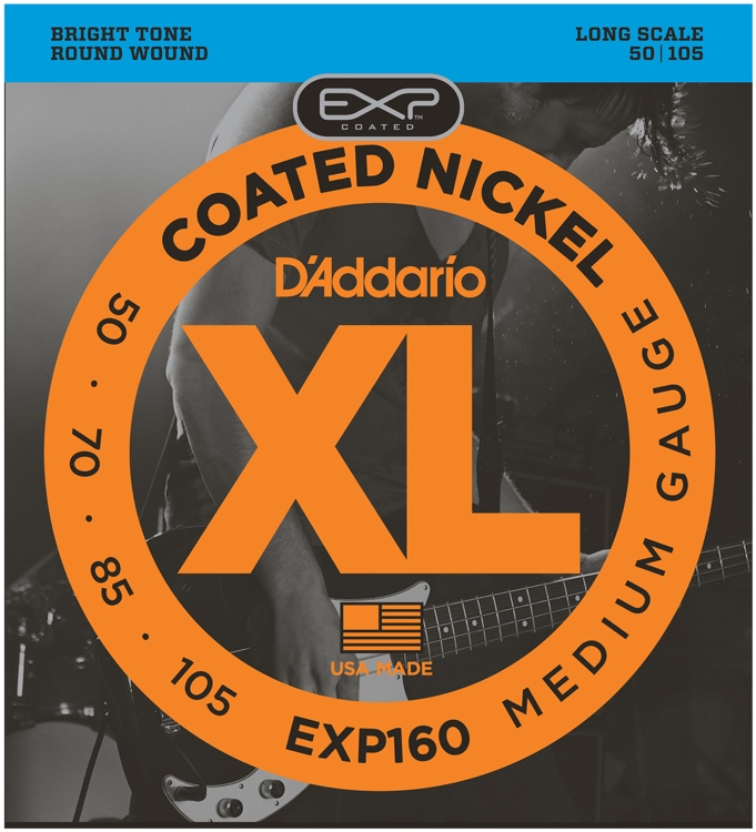 D\'Addario EXP160 Coated Round Wound Long Scale Medium Bass Strings image 1