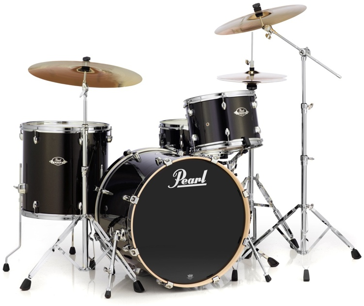 pearl export exx 4 piece drum set w cymbals black gold sparkle sweetwater. Black Bedroom Furniture Sets. Home Design Ideas