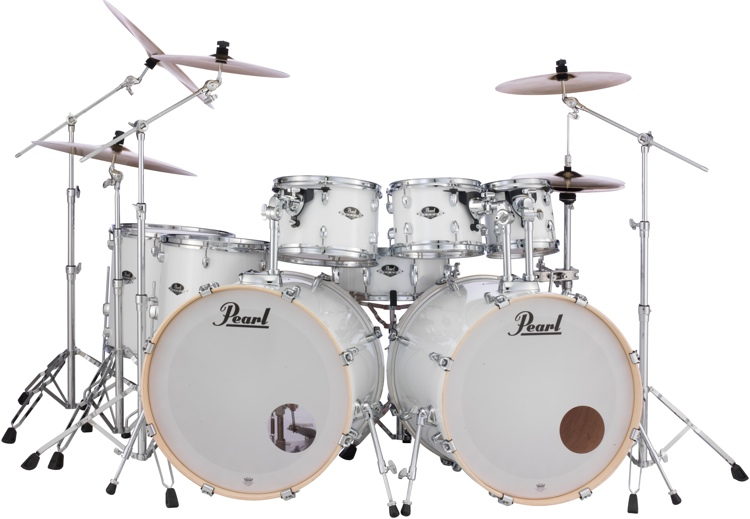 Pearl Export EXX 8-piece Double Bass Drum Set with Hardware - Pure White image 1