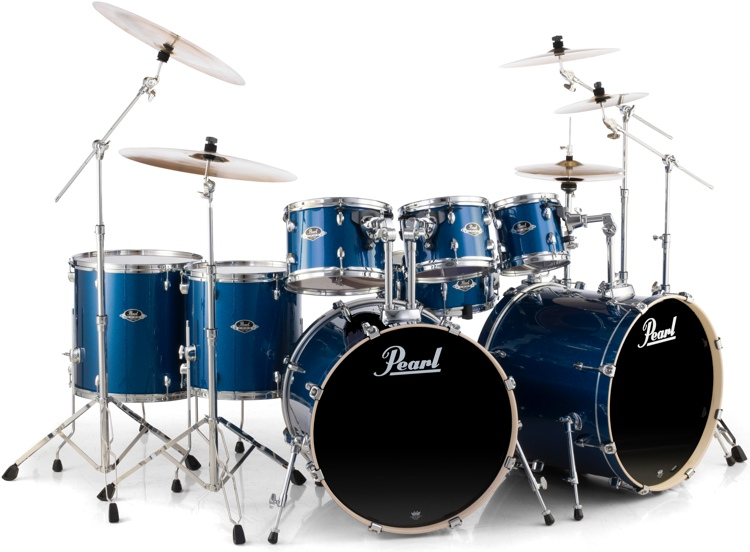 Pearl Export EXX 8-piece Double Bass Drum Set with Hardware - Electric Blue Sparkle image 1