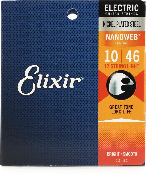 Elixir Strings 12450 Nanoweb Light 12-String Electric Guitar Strings image 1