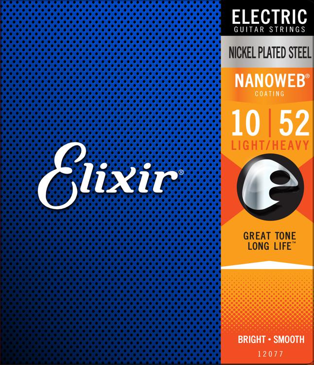 Elixir Strings 12077 Nanoweb Light Top Heavy Bottom Electric Guitar Strings image 1