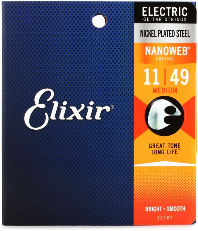 Elixir Strings 12102 Nanoweb Medium Electric Guitar Strings image 1