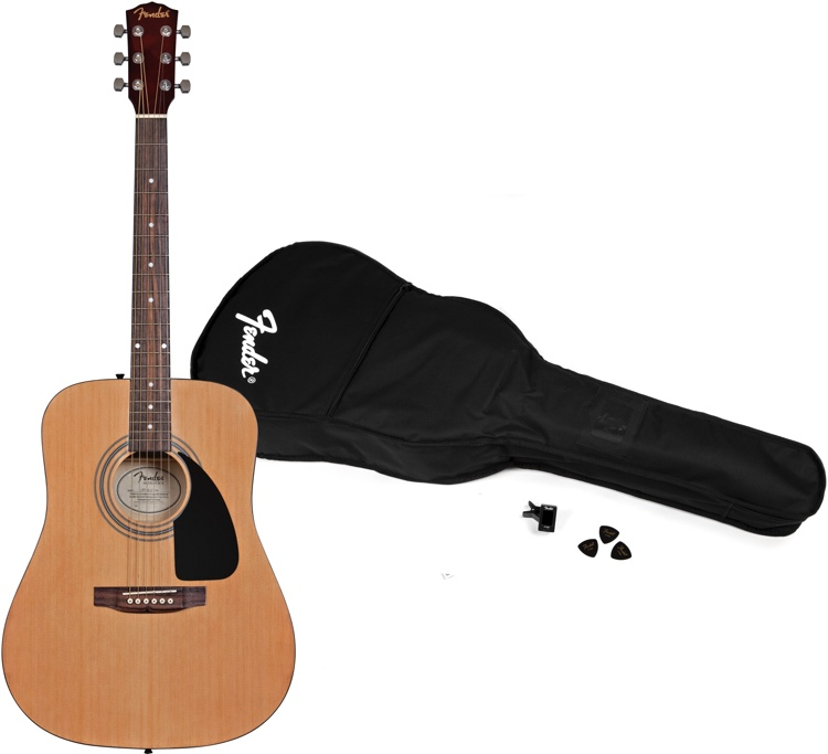 Fender FA100 Acoustic Guitar Pack - Gig bag, Tuner & Picks image 1