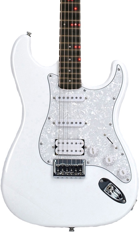 fretlight fg 621 wireless electric guitar learning system white sweetwater. Black Bedroom Furniture Sets. Home Design Ideas