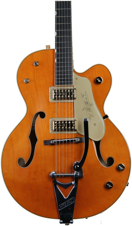 Gretsch G6120-1959LTV Chet Atkins Hollow Body - Orange with TV Jones Pickups image 1