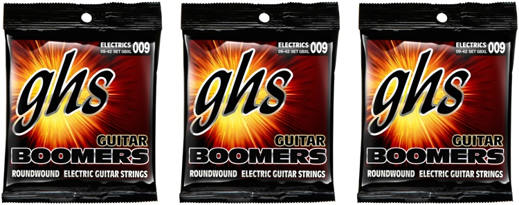 GHS GBXL Guitar Boomers Roundwound Extra Light Electric Guitar Strings 3-Pack image 1