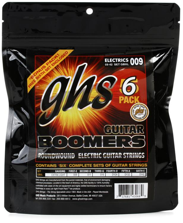 GHS GBXL-5 Guitar Boomers Roundwound Extra Light Electric Guitar Strings 6-Pack image 1