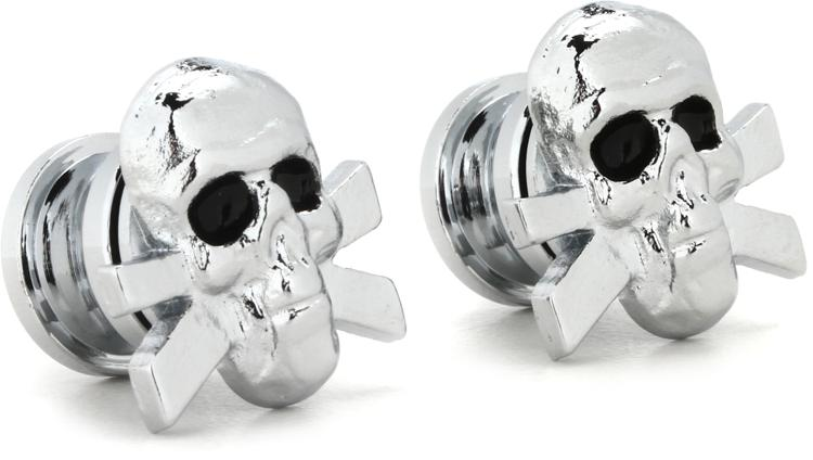 Grover GP610C Strap Button Set - Skull - Chrome image 1