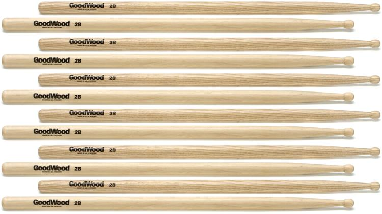 Goodwood US Hickory Drumsticks - 6 Pair - 2B Wood Tip image 1