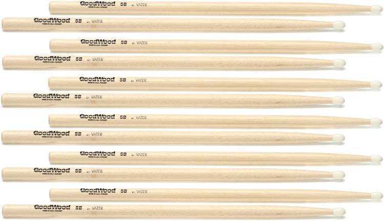 Goodwood US Hickory Drumsticks - 6 Pair - 5B - Nylon Tip image 1