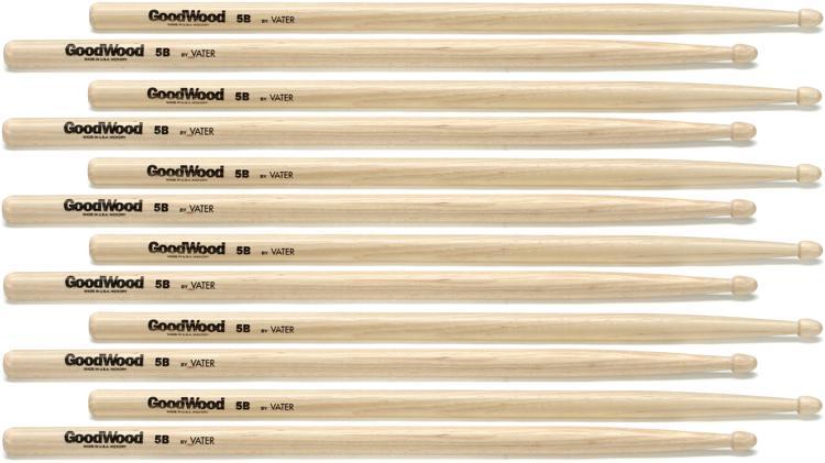 Goodwood US Hickory Drumsticks - 6 Pair - 5B Wood Tip image 1