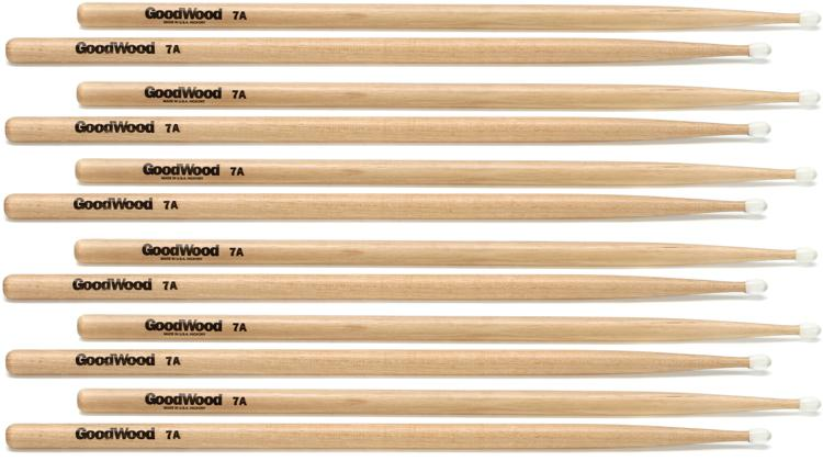 Goodwood US Hickory Drumsticks - 6 Pair - 7A - Nylon Tip image 1