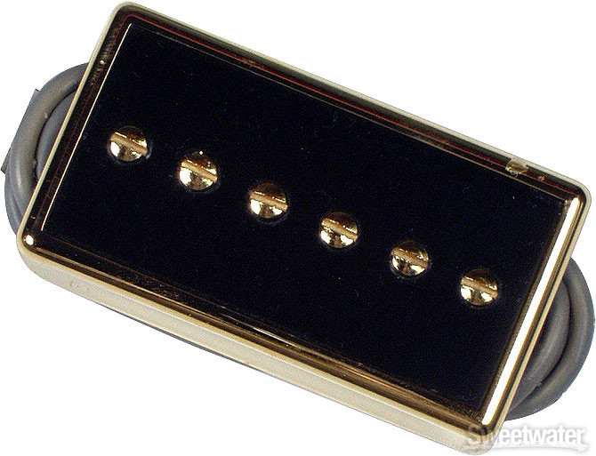 Gibson Accessories P-94T Humbucker-Sized P-90, Black Bridge Pickup - Black w/Gold image 1