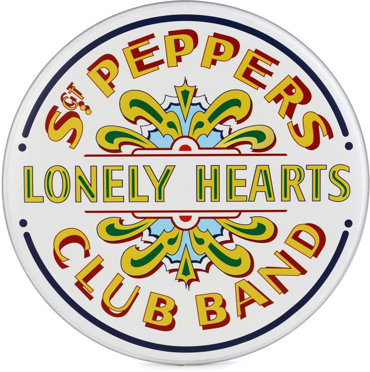 evans inked sgt pepper 50th anniversary bass drum head 22 sweetwater. Black Bedroom Furniture Sets. Home Design Ideas