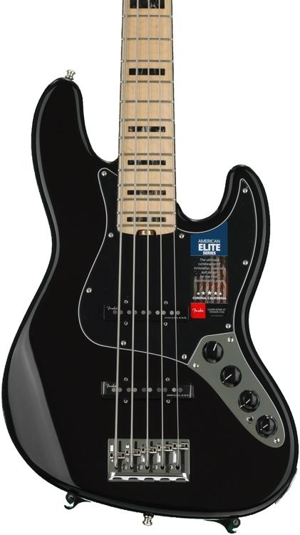 Fender American Elite Jazz Bass V - Black, Maple Fingerboard image 1