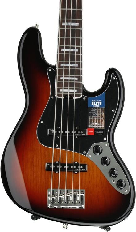 Fender American Elite Jazz Bass V - 3-color Sunburst, Rosewood Fingerboard image 1